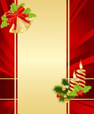 Red background with christmas decorations. Vector illustration. Vector