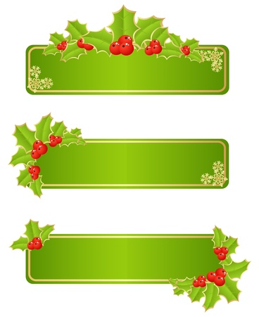 Labels with christmas decorations. Vector illustration.