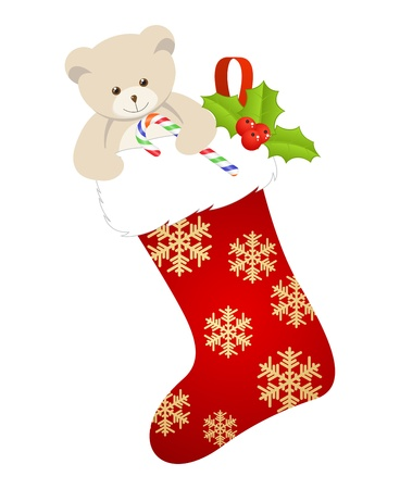 Christmas stocking isolated on a white background. Vector illustration. Vector