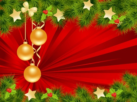 christmas embellishments: Christmas background with decorations. Vector illustration.