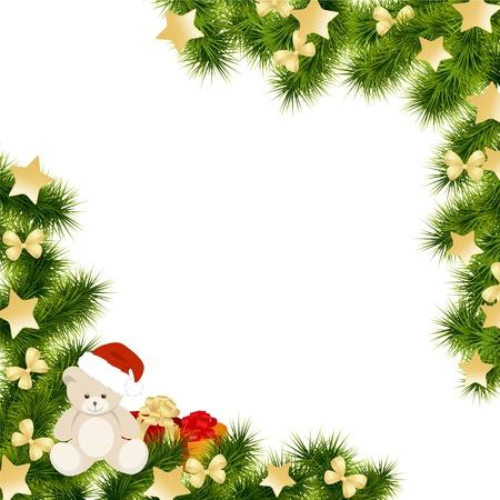 osos navide�os: Navidad de fondo de la tarjeta. Ilustraci�n del vector.