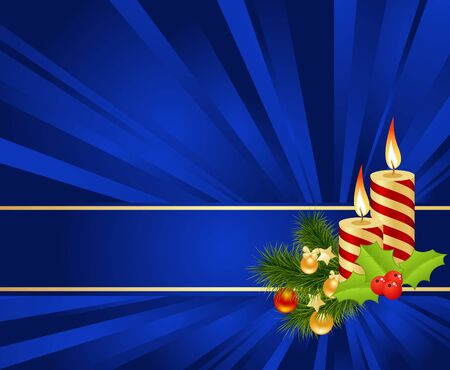 Blue background with christmas decorations. Vector illustration. Vector