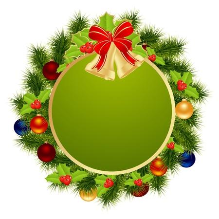 holydays: Green label for winter holydays designs. Vector illustration.
