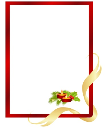 candle light: Red frame with christmas decorations. Vector illustration.