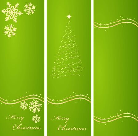 Three vertical ornated green and gold Christmas or New Year backgrounds Stock Vector - 11530007