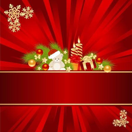 christmas embellishments: Christmas card background with decorations. Vector illustration.