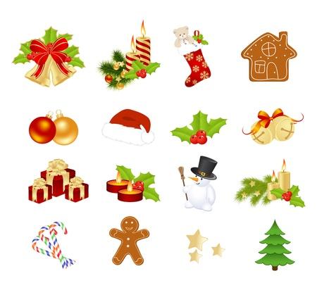 osos navide�os: Elementos de la Navidad aislado en un blanco. Ilustraci�n vectorial.