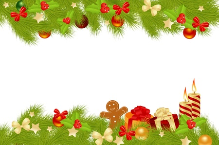 Christmas card background with decorations. Vector illustration.