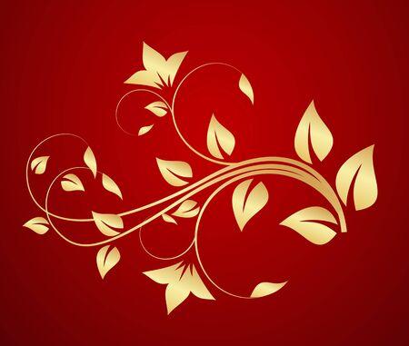 Gold floral ornament. Vector illustration. Illustration