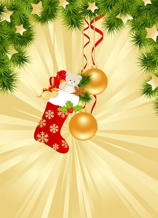 Christmas gold background with decorations. Vector illustration. Stock Vector - 11659962