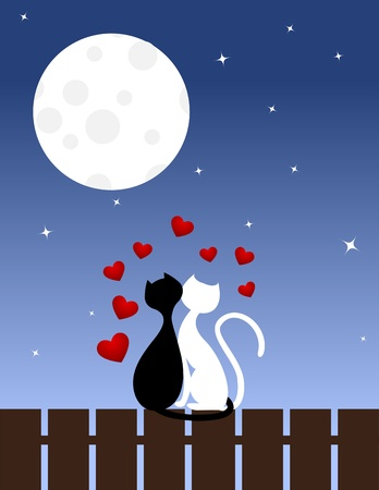Two enamoured cats sit on a fence. Vector illustration. Stock Vector - 12136957