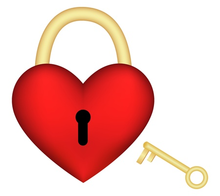 Heart-lock with a key isolated on a white. Vector illustration  Vector