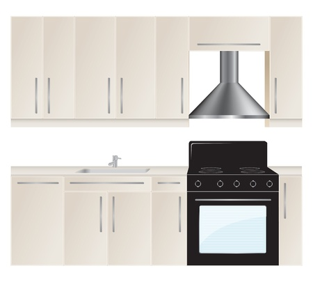 cupboards: Kitchen furniture set. Vector illustration.