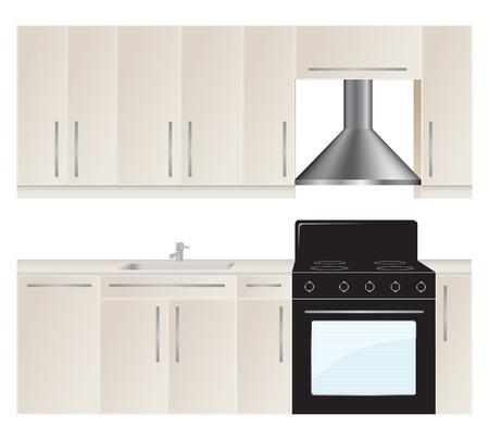 armarios: Muebles de cocina establecido. Ilustraci�n del vector.