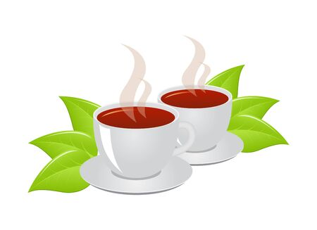 consept: Cups of tea solated on a white. Tea consept. Vector illustration.