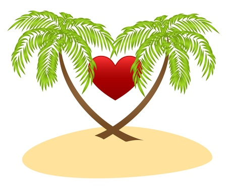 Two palms and red heart isolated on a white background. Stock Vector - 12136966