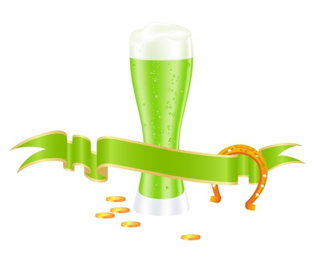 Green beer with shamrock for st. patrick Stock Vector - 12136973
