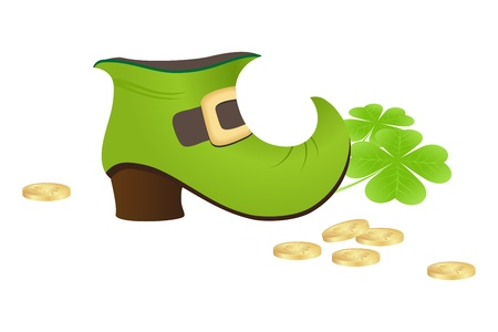 A leprechauns green boot with shamrock and coins isolated on a white background. Illustration. Vector