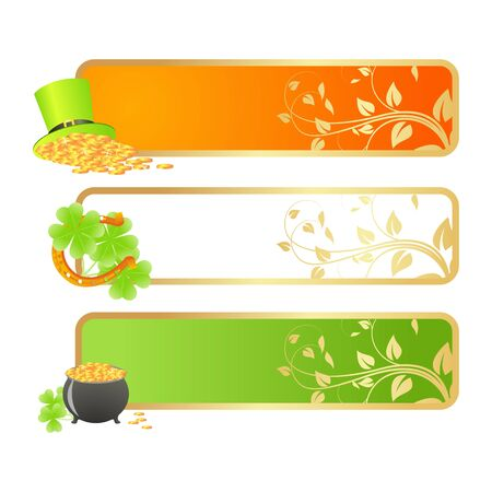 Banners for St. Patricks day in Irish flag colors and holiday symbols - Leprechaun hat, pot of gold and horseshoe Vector