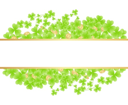 earthenware: St. patricks day pattern with gold coins. Illustration