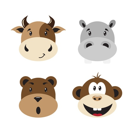 Set smiles of animals isolated on a white background. Vector illustartion. Vector