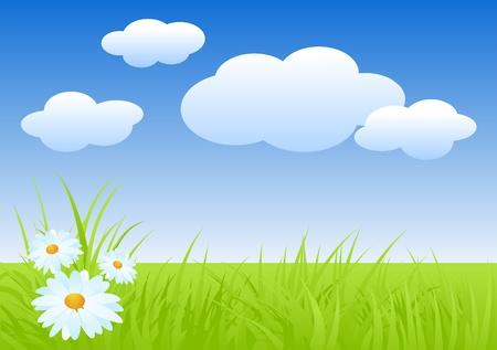 lea: Fresh nature landscape in spring. Vector illustration.