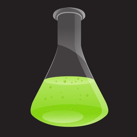 Laboratory flask with green liquid. Vector illustration isolated on a black background. Vector