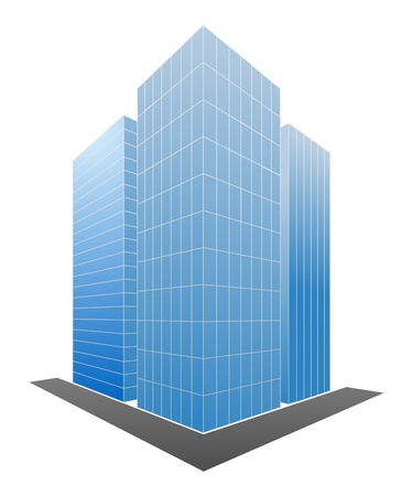Three blue skyscrapers isolated on a white. Vector illustration. Ilustração