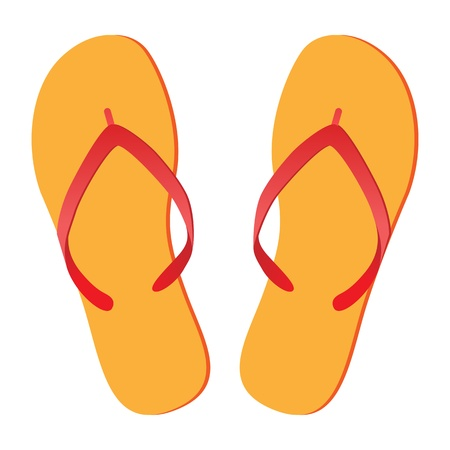 footware: Pair of flip-flops isolated on a white background. Vector illustration.
