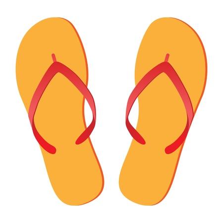 flipflops: Pair of flip-flops isolated on a white background. Vector illustration.