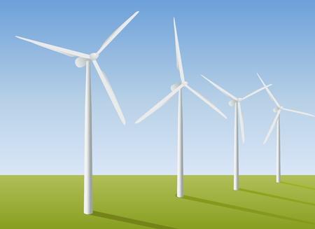 フィールドでの風力タービン。ベクトル イラスト。