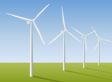 electric turbine: Wind turbines in the field. Vector illustration.