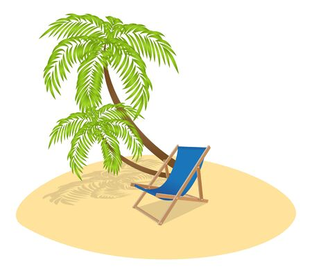 Sun lounger and two palm trees. Illustration. Vector