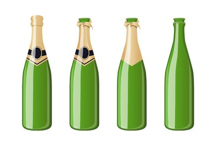 Champagne bottles with blank labes illustration  Stock Vector - 14753653