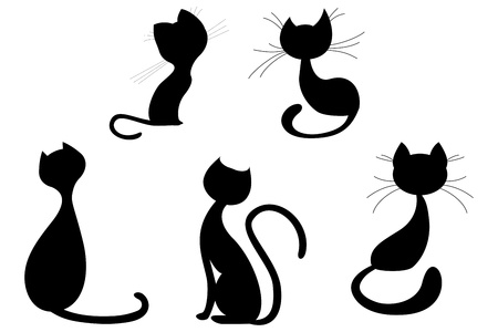 Cartoon cat silhouette collection Stock Vector - 14753645