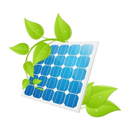 solar equipment: El panel solar aislado en una ilustraci�n blanco