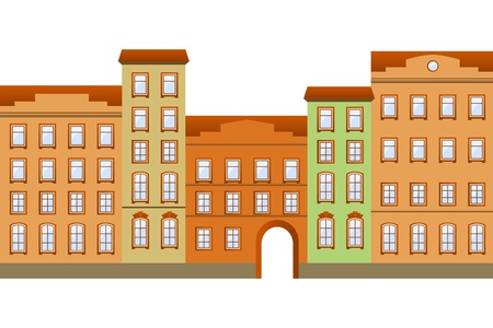 architectural styles: Street with houses in different architectural styles and colours  Illustration