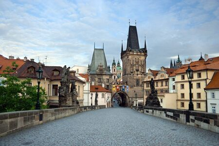 Charles Bridge and Prague Castle in th� morning photo