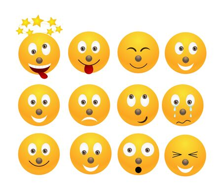 Set of yellow smiles illustration, isolated on a white.