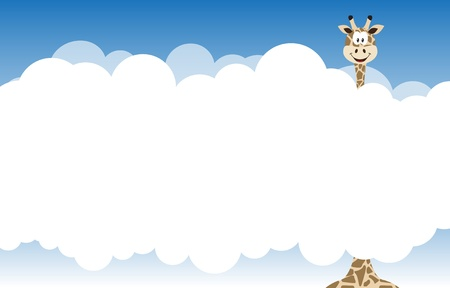 blue spotted: Card with giraffe. Giraffes head over clouds illustration. Illustration