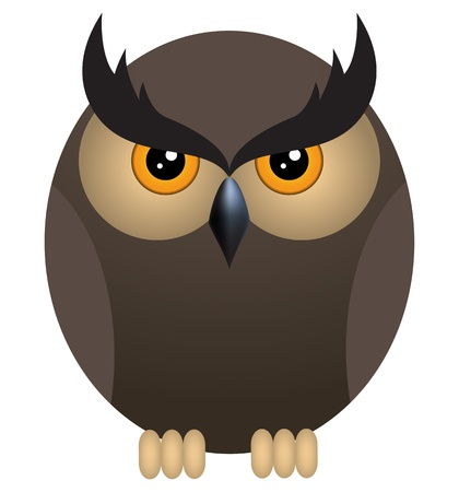 Brown angry owl isolated on a white background Vector