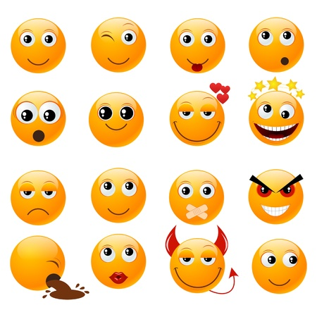 smileys: Set of orange smiles illustration, isolated on a white.