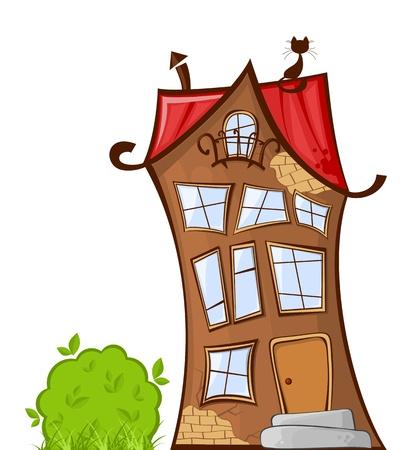 흰색 배경에 격리하는 멋진 만화 집의 그림 일러스트