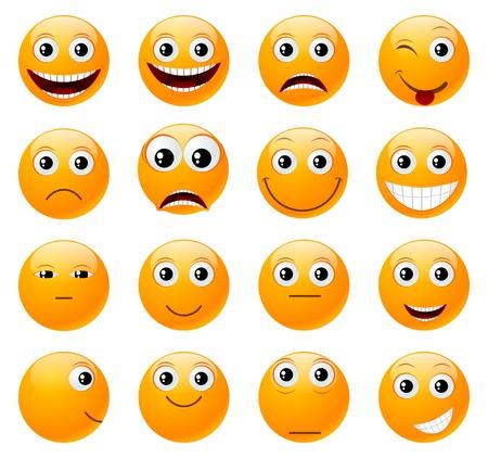 mirada triste: Conjunto de sonrisas ilustraci�n naranja, aislado en un blanco Vectores