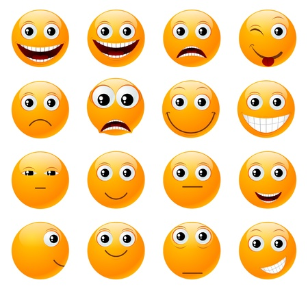 smileys: Set of orange smiles illustration, isolated on a white  Illustration
