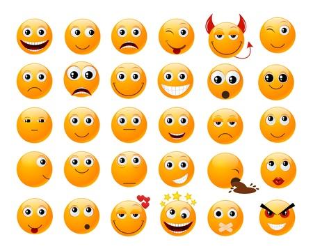 Set of orange smiles