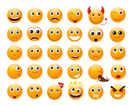 laugh emoticon: Set of orange smiles