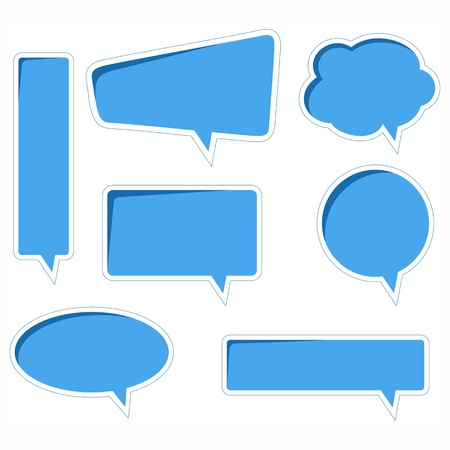 thought: Blue vector speech bubbles with realistic shading and shadows