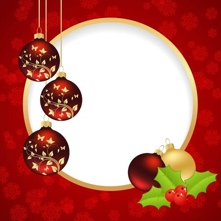 Template Christmas card with round hole  Vector illustration  Vector