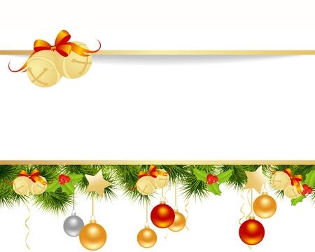 campanas navidad: Navidad fondo de la tarjeta con la ilustraci�n vectorial juguetes